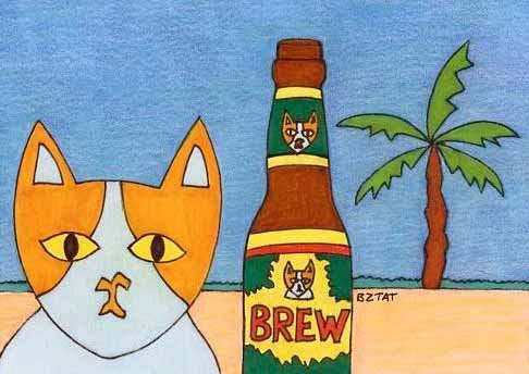 Brewskie Butt The Brew on the Beer beach drawing by BZTAT