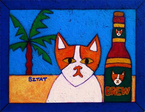 Brewskie Butt Cat with a Beer on the beach painting by BZTAT